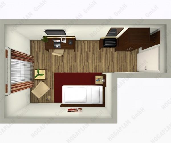 komplettes Einzelzimmer modern - ohne Montage