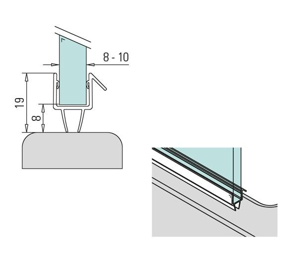 2m Duschkabinendichtung Dichtungsprofil 8-10mm