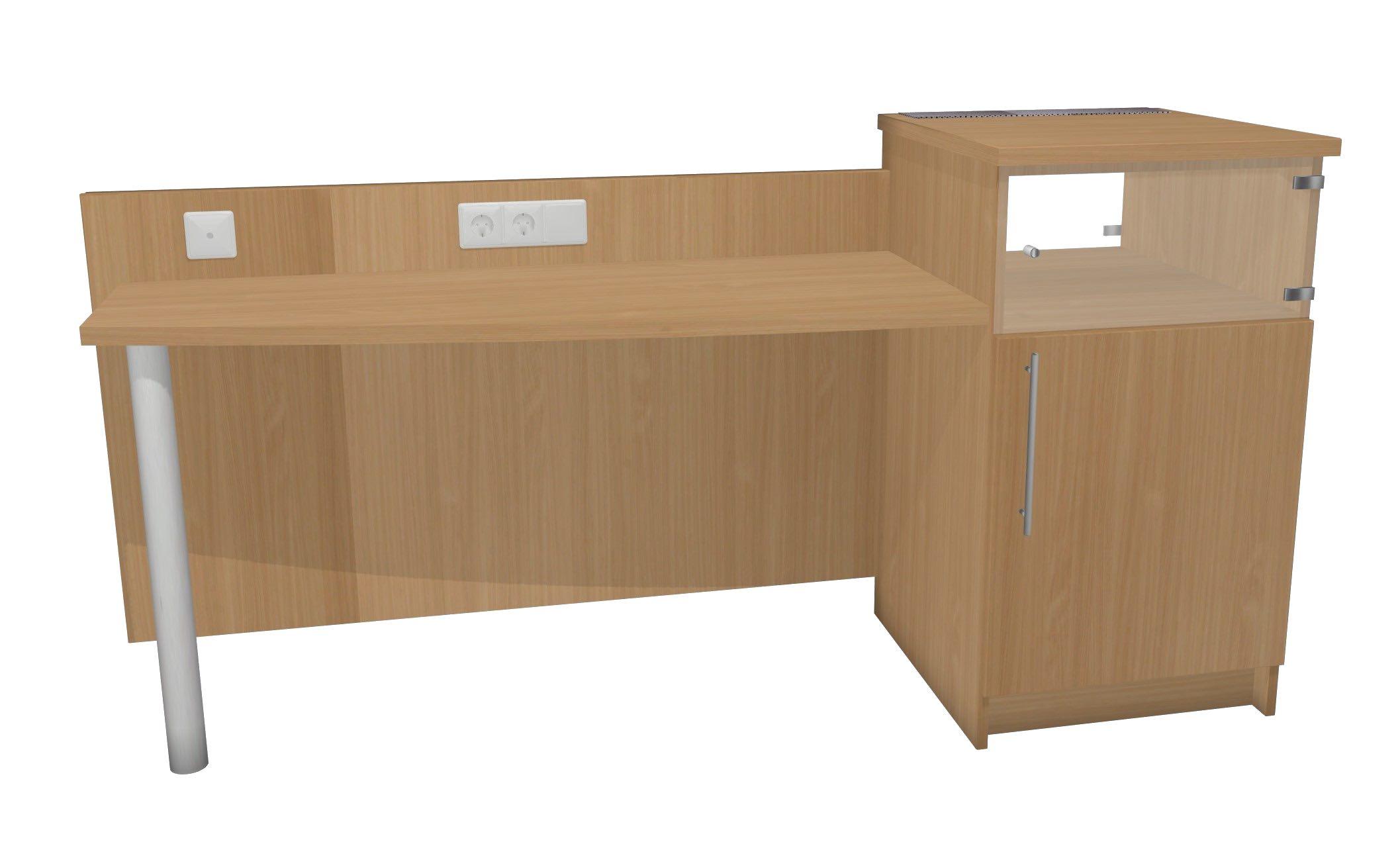 Schreibtisch mit minibarturm modell paris dekor buche for Schreibtisch buche dekor