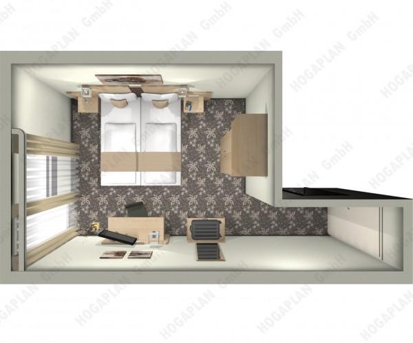 komplettes Doppelzimmer Ahorn - ohne Montage