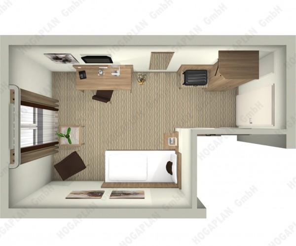 komplettes Einzelzimmer edel - ohne Montage