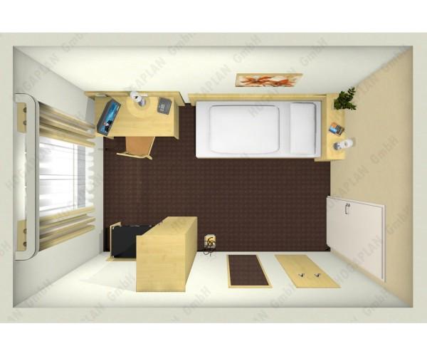 komplettes Einzelzimmer Ahorn - ohne Montage